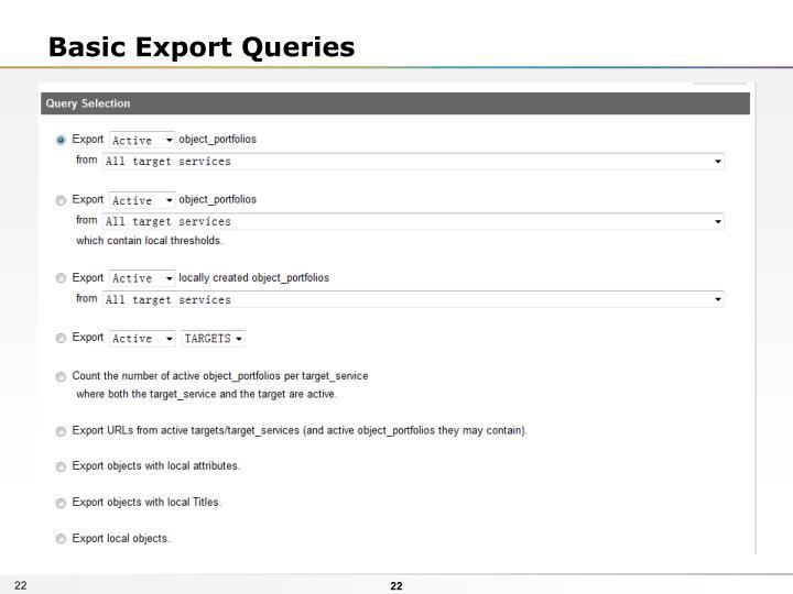 Basic Export Queries