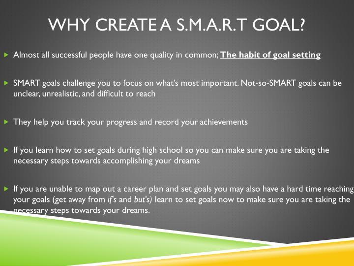 Why Create a S.M.A.R.T goal?