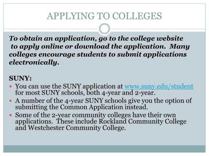 APPLYING TO COLLEGES