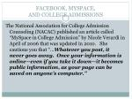facebook myspace and college admissions
