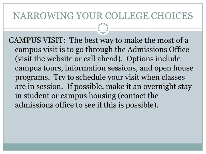 NARROWING YOUR COLLEGE CHOICES