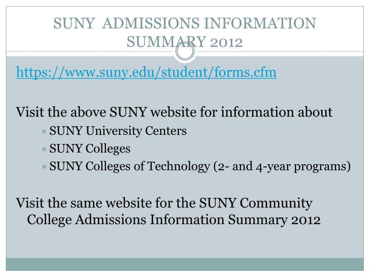 SUNY  ADMISSIONS INFORMATION SUMMARY 2012