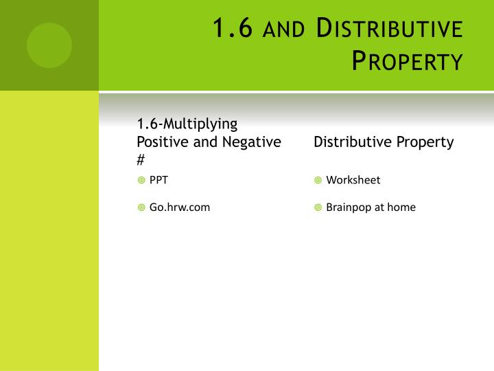 1.6 and Distributive Property