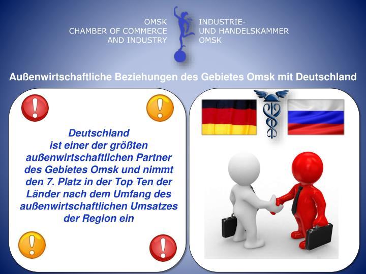 Auenwirtschaftliche Beziehungen des Gebietes Omsk mit Deutschland