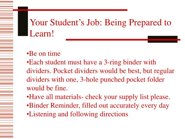 Your Student's Job