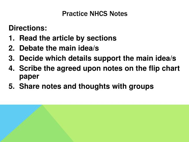 Practice NHCS Notes