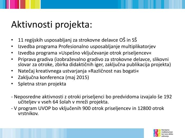 Aktivnosti projekta: