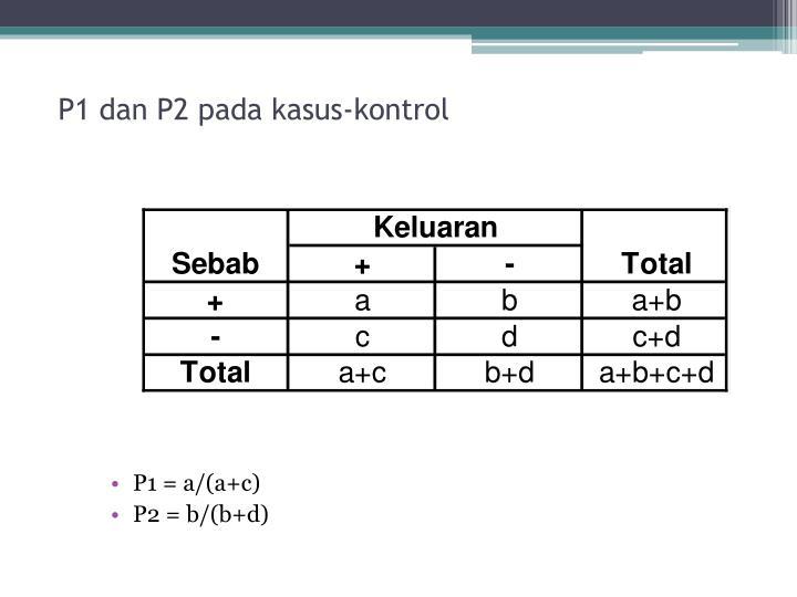 P1 dan P2 pada kasus-kontrol