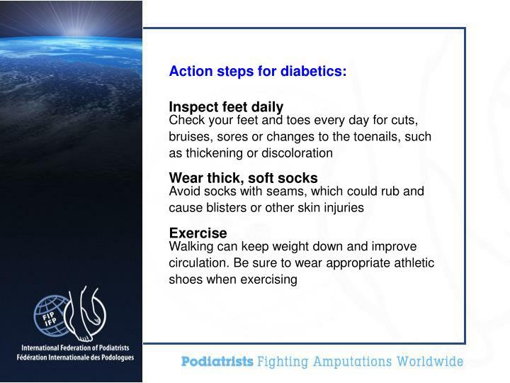 Action steps for diabetics: