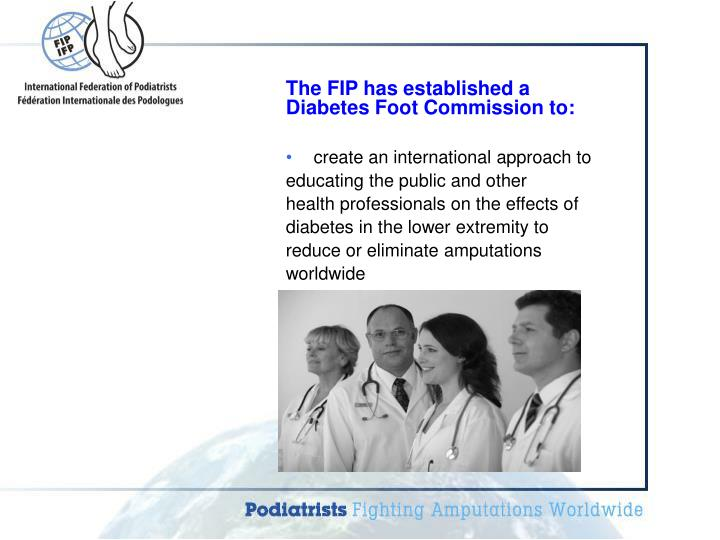 The FIP has established a Diabetes Foot Commission to: