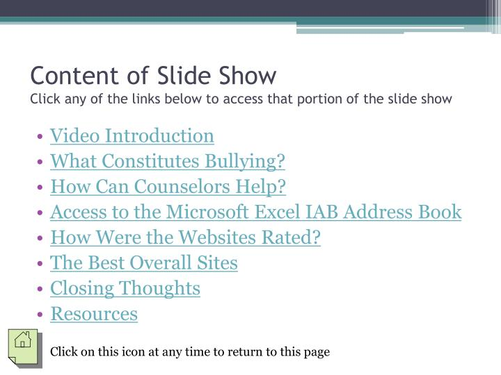 Content of slide show click any of the links below to access that portion of the slide show
