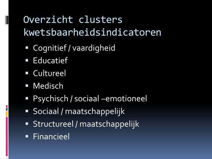 Overzicht clusters