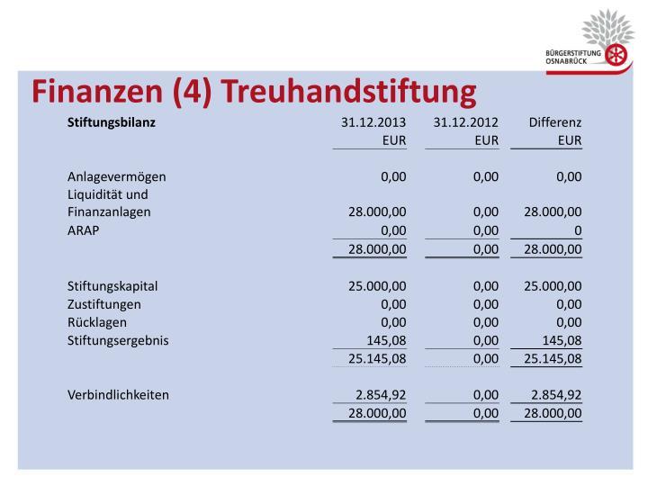 Finanzen (4) Treuhandstiftung
