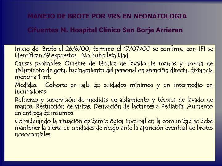 MANEJO DE BROTE POR VRS EN NEONATOLOGIA