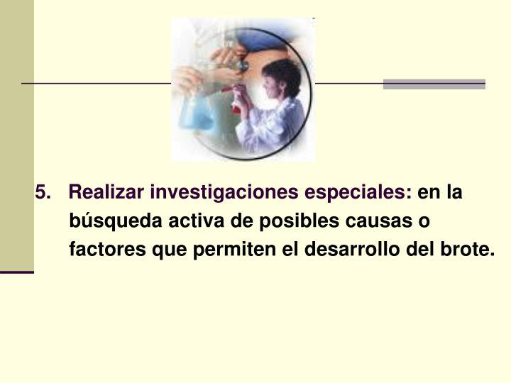 5.   Realizar investigaciones especiales:
