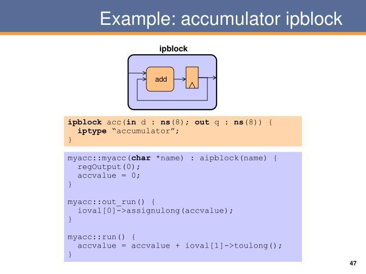 Example: accumulator