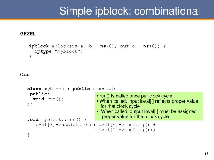 Simple ipblock: combinational