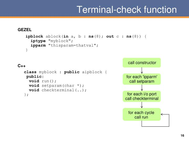 Terminal-check function