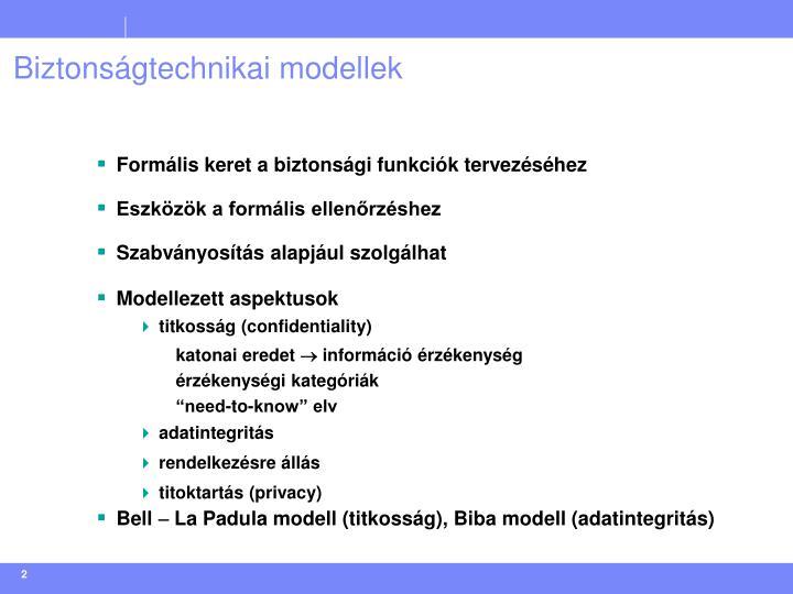 Biztonságtechnikai modellek