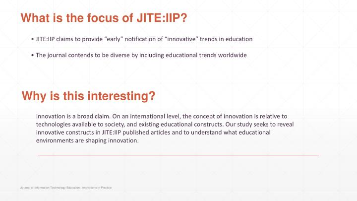 What is the focus of jite iip