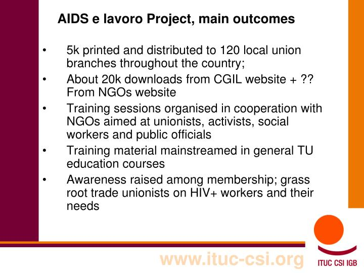 AIDS e lavoro Project, main outcomes