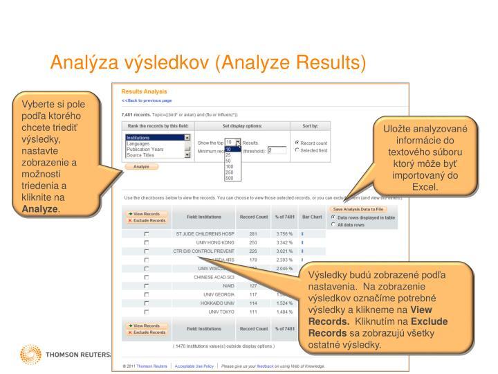 Analýza výsledkov (