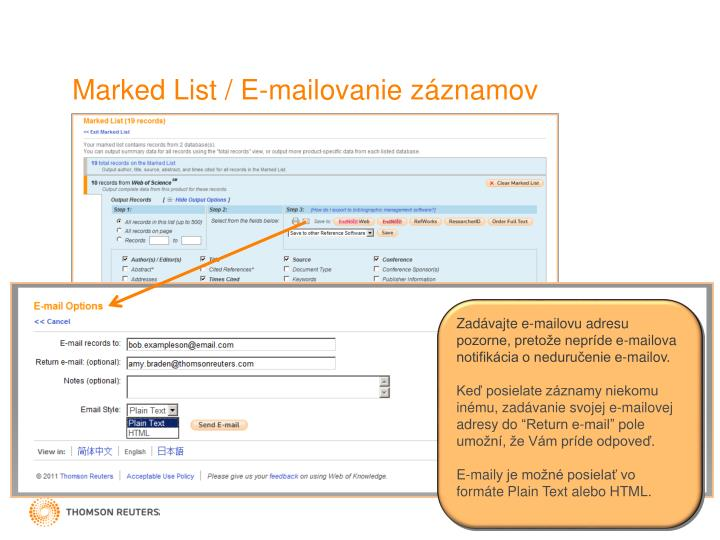 Marked List / E-mail
