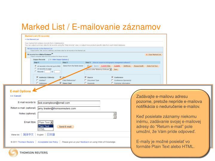Marked List / E-mail