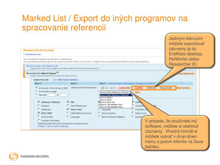 Marked List / Export