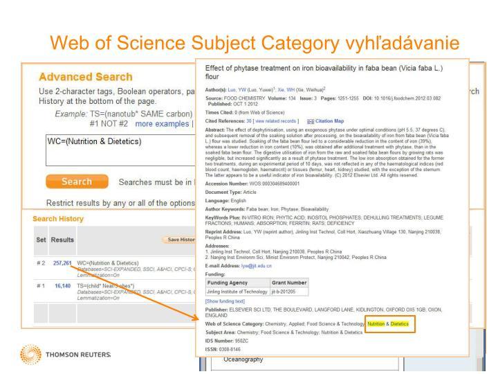 Web of Science Subject Category vyhľadávanie