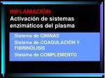 inflamaci n activaci n de sistemas enzim ticos del plasma