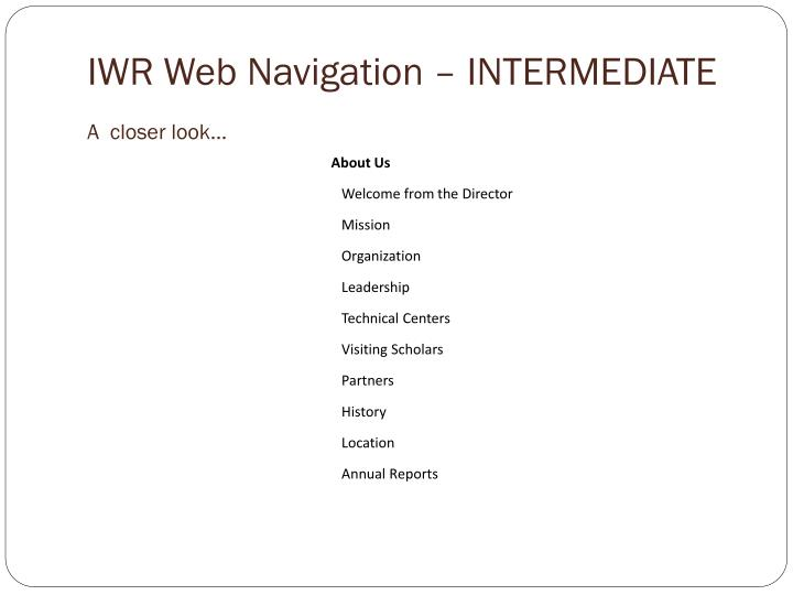 IWR Web Navigation – INTERMEDIATE