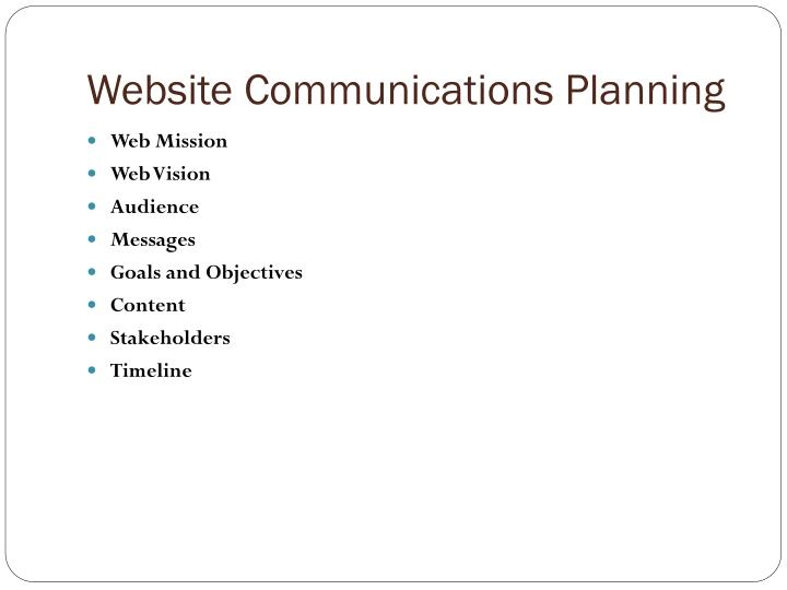 Website communications planning