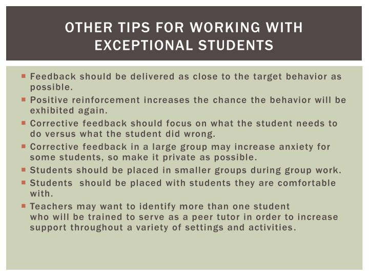 Other Tips for Working With Exceptional Students