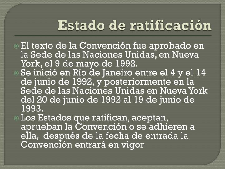 Estado de ratificación