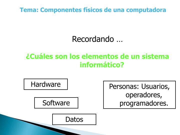 Tema: Componentes físicos de una computadora