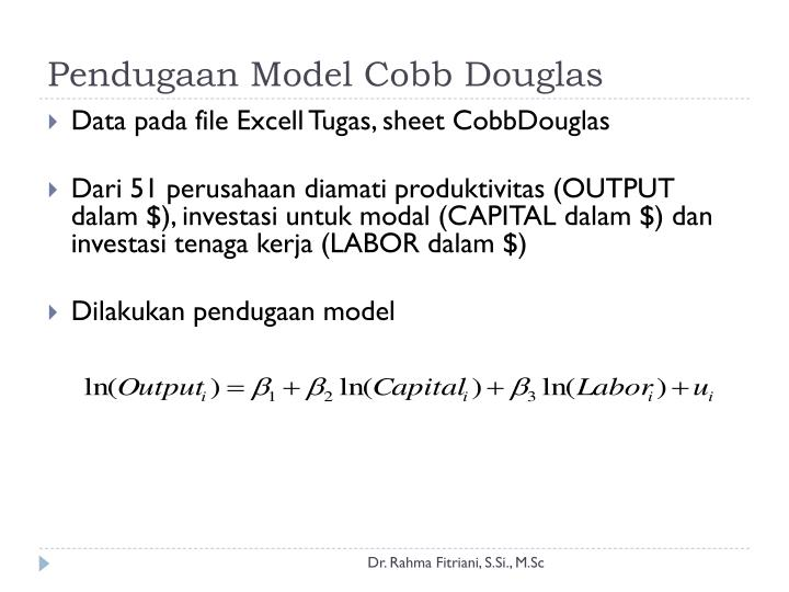 Pendugaan Model Cobb Douglas