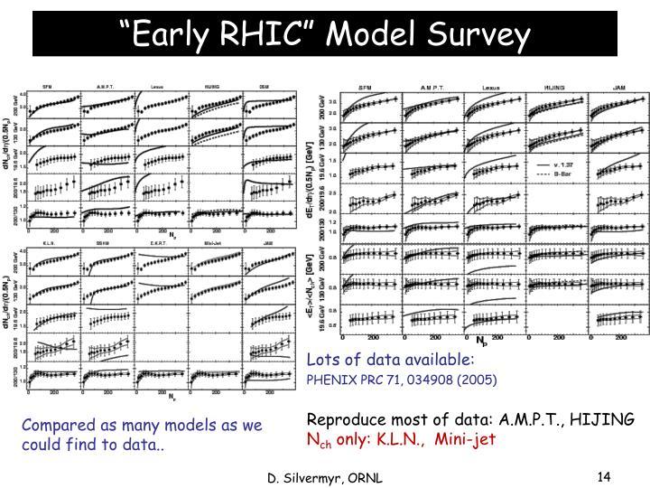"""""""Early RHIC"""" Model Survey"""