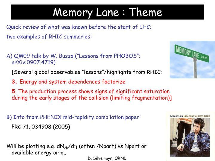Memory Lane : Theme