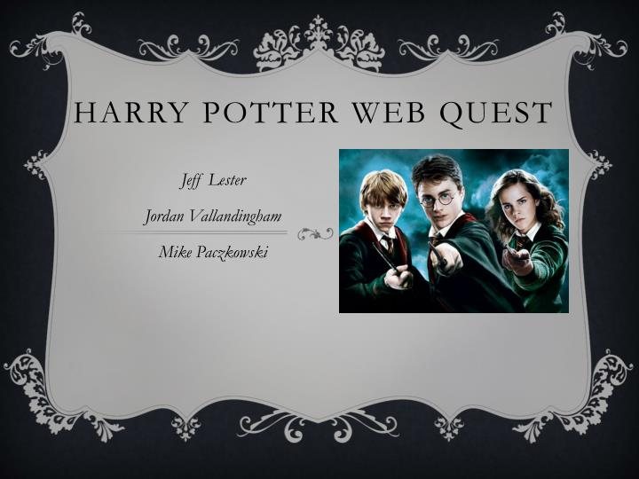 Harry potter web quest