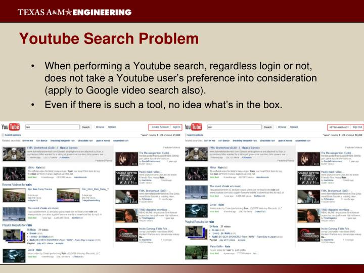 Youtube search problem