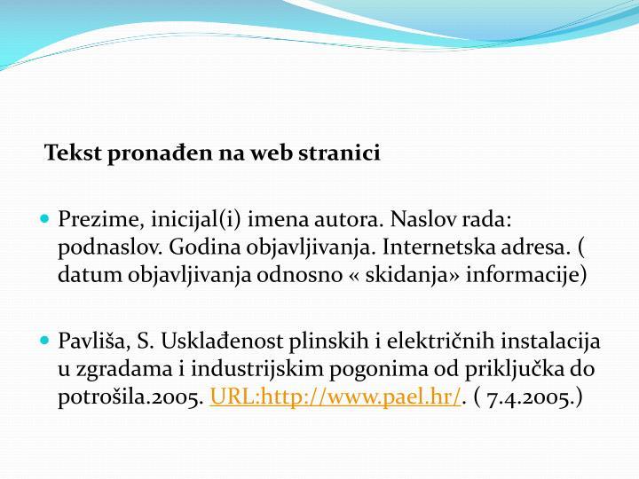 Tekst pronađen na web stranici