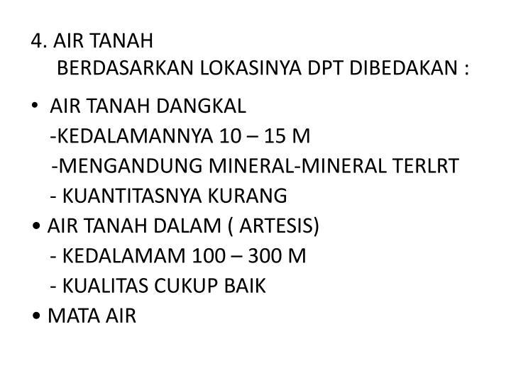 4. AIR TANAH