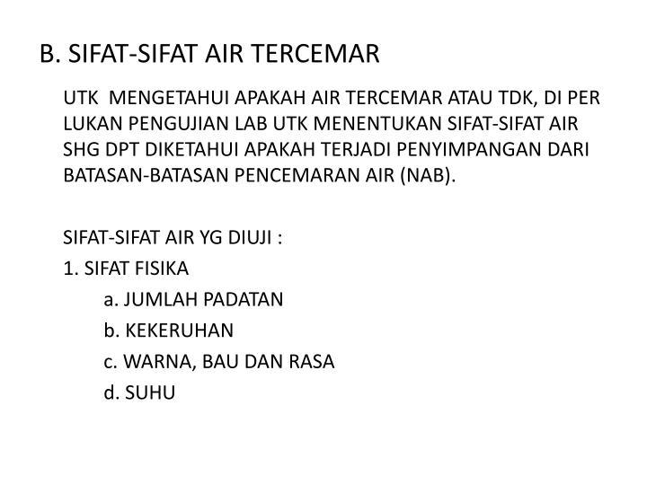 B. SIFAT-SIFAT AIR TERCEMAR