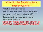 how did the nazis reduce unemployment1