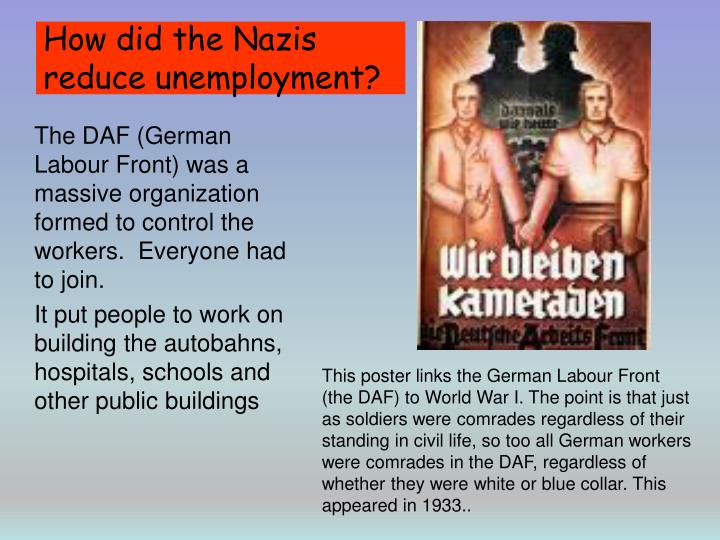 How did the Nazis reduce unemployment?