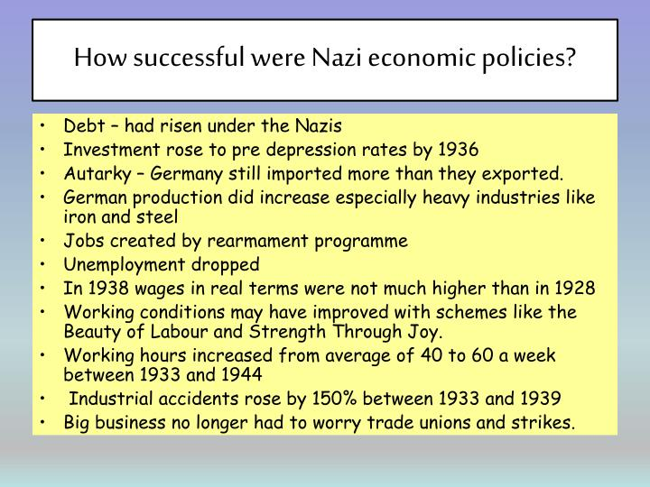 How successful were Nazi economic policies?