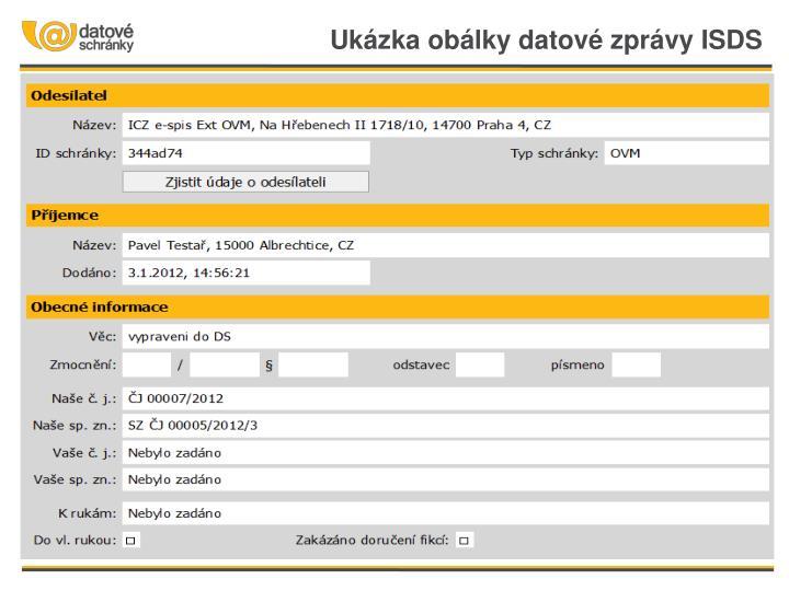 Ukázka obálky datové zprávy ISDS
