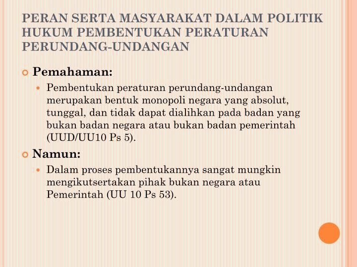 PERAN SERTA MASYARAKAT DALAM POLITIK