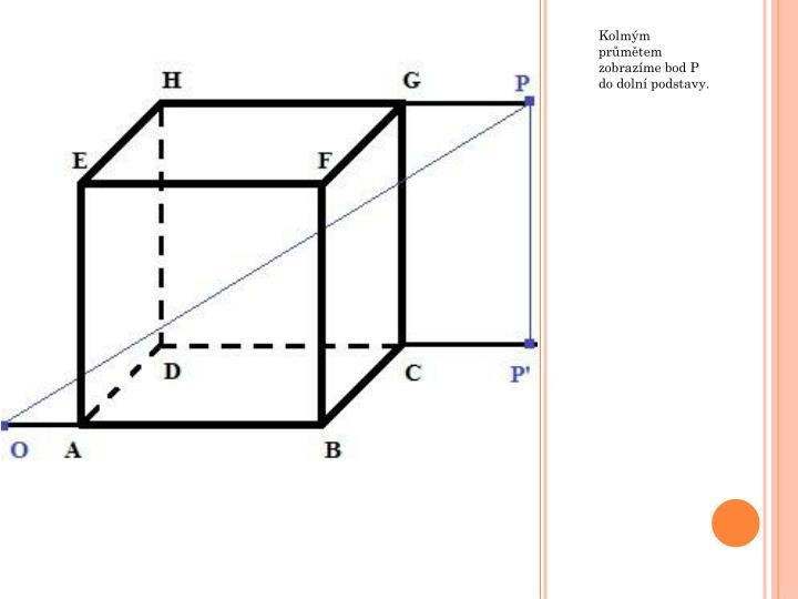 Kolmým průmětem zobrazíme bod P do dolní podstavy.